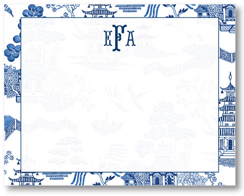 Notecard Toile Blue