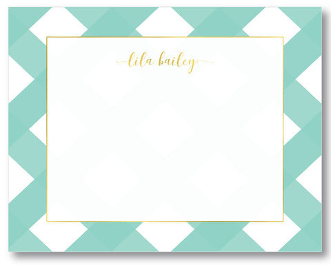 Notecard Gingham Mint