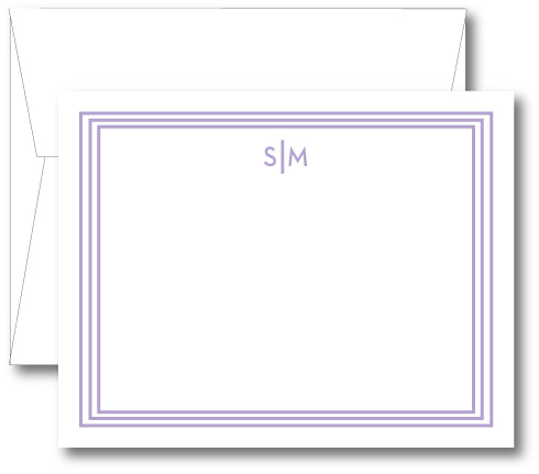 Classic Notecard - Triple Stripe Modern Initials (click for more colors options)