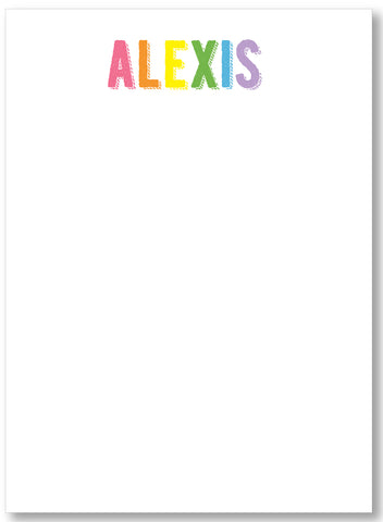 Notepad - Simple Name Pastel Rainbow