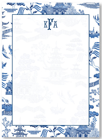 Notepad - Classic Chinoiserie Blue White Toile