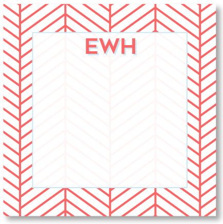Square Notepad - Herringbone Nantucket Red