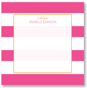 Square Notepad - Awning Stripes Pink