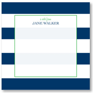 Square Notepad - Awning Stripes Navy