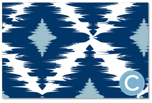 Laminated Placemat - Diamond Ikat Navy