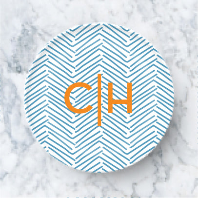 Plate  - Casual Herringbone Blue
