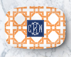 Platter - Cane pattern orange