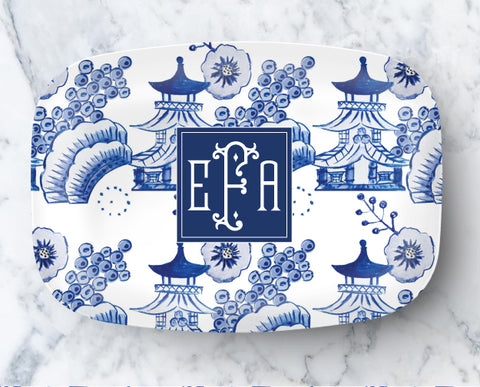 Platter - Chinoiserie Toile Pattern Blue