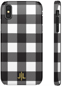 Phone Case - Buffalo Plaid Black + White