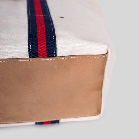 Tall Shopper Tote - Ivory with Red + Navy Stripes