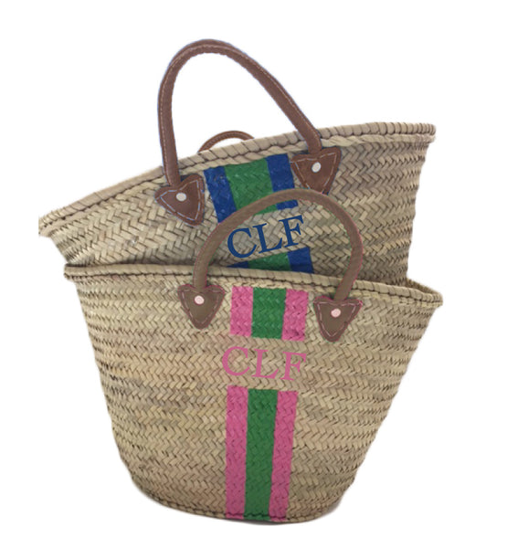 Large Straw Tote - Monogram + Stripes (Choice of Colors)