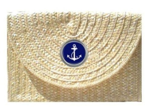 Straw Clutch - With Choice of Icon Button
