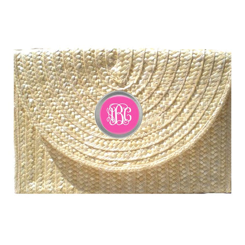 Straw Clutch - With Monogram Button