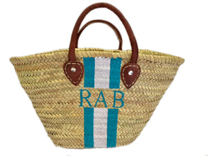 Small Straw Tote - Monogram + Stripes (Choice of Colors)