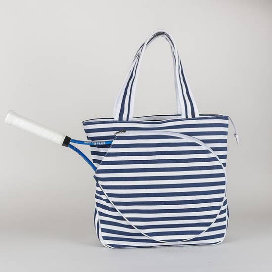 Tennis Tote - Blue + White stripes
