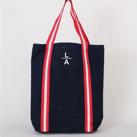 Tall Shopper Tote - Navy with Red + Navy Stripes