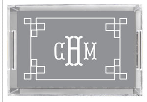 Lucite Tray - Fretwork Pattern Grey