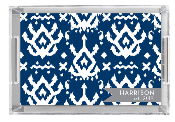 Lucite Tray - Island Ikat Navy