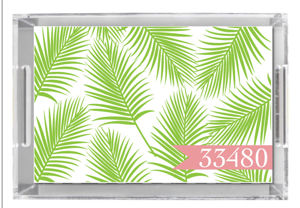 Lucite Tray - Palm Leaf