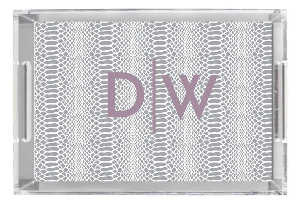 Lucite Tray - Snakeskin Grey