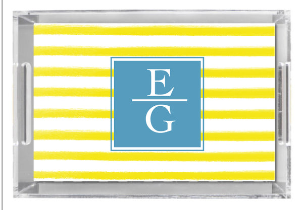 Lucite Tray - Watercolor Stripe Yellow