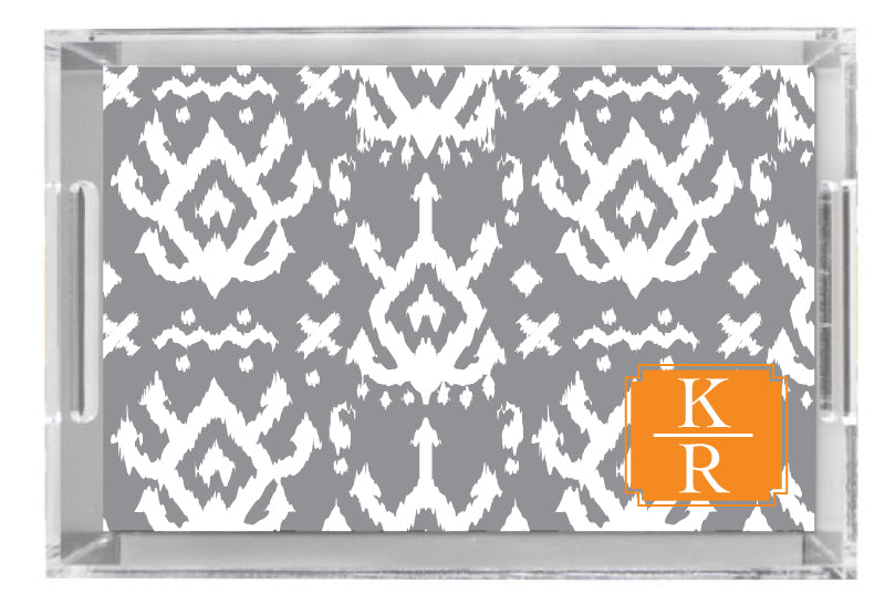 Lucite Tray - Island Ikat Grey