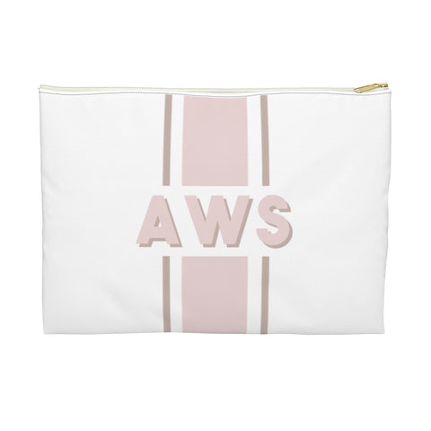 Canvas Zip Pouch Racing Stripes Shadow Text Initials (2 sizes)