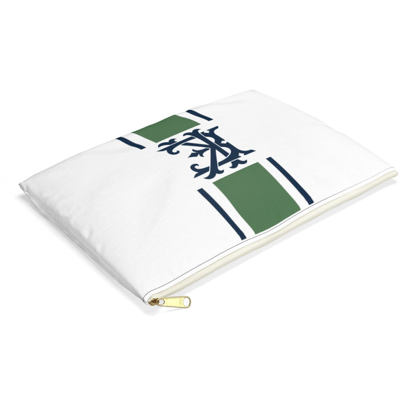 Canvas Zip Pouch Racing Stripes Interlocking Initials (2 sizes)