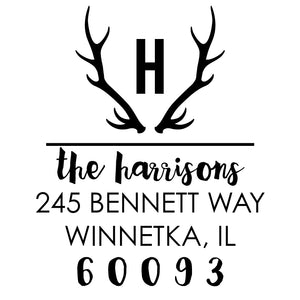 Self Inking Address Stamp - Antlers Initial