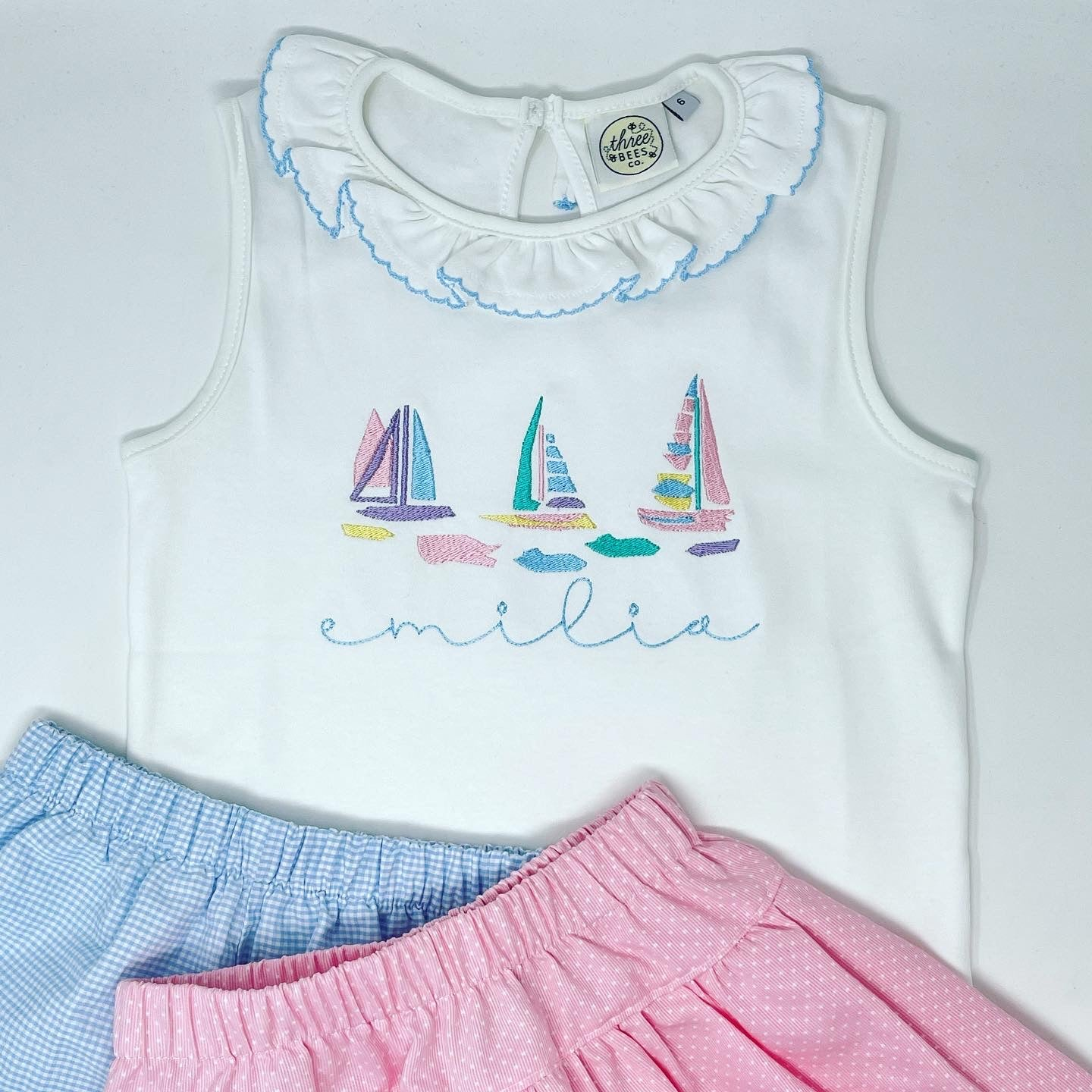 Watercolor Sailboat Girls Embroidered Top