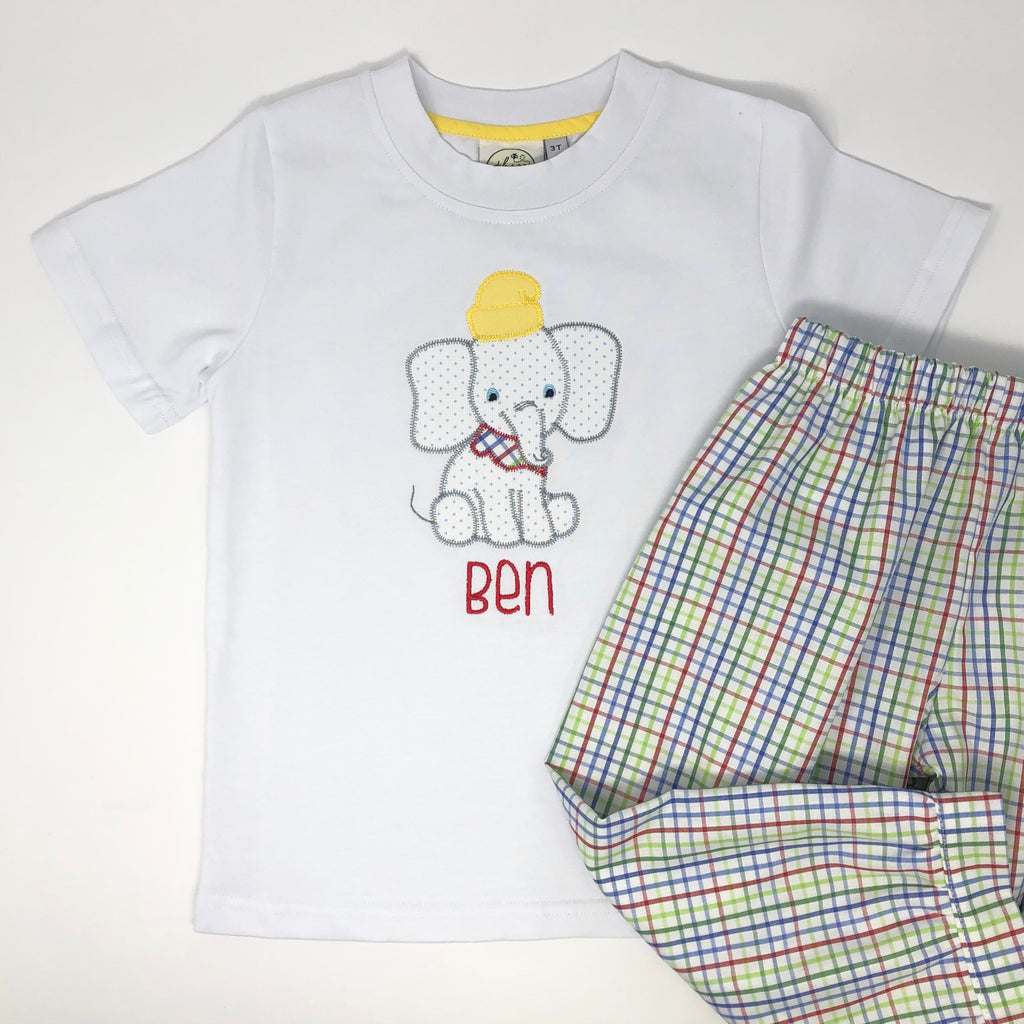 Elephant Character Applique Boys T-Shirt