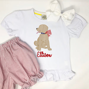 Patriotic Pup Embroidery Girls Top