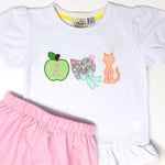 Apple Bonnet Cat ABC Trio Applique Girls Top