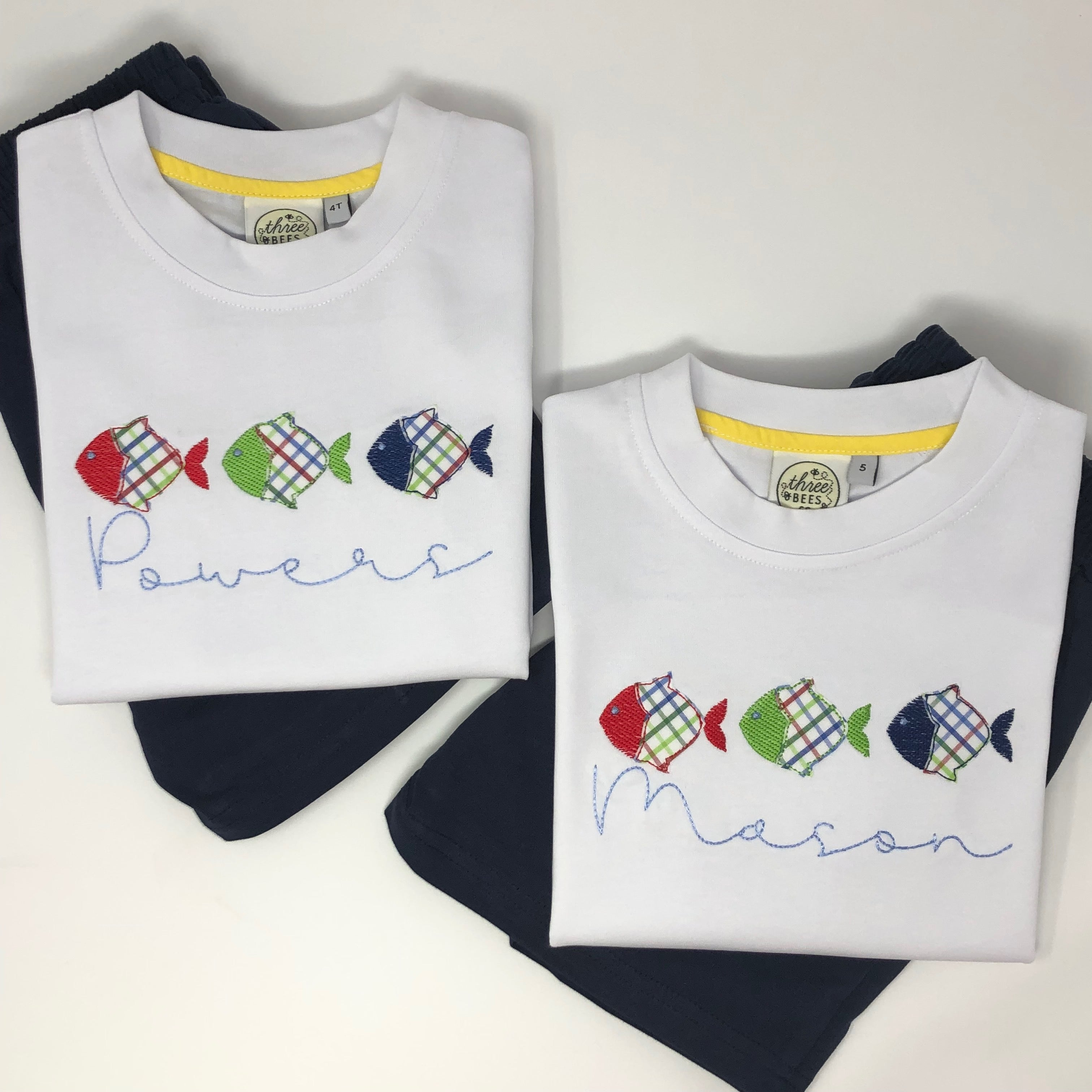 Fish Trio Applique Boys Short Set
