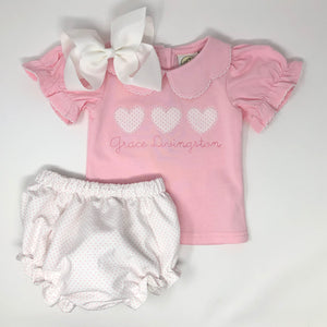 Heart Trio Girls Applique Top