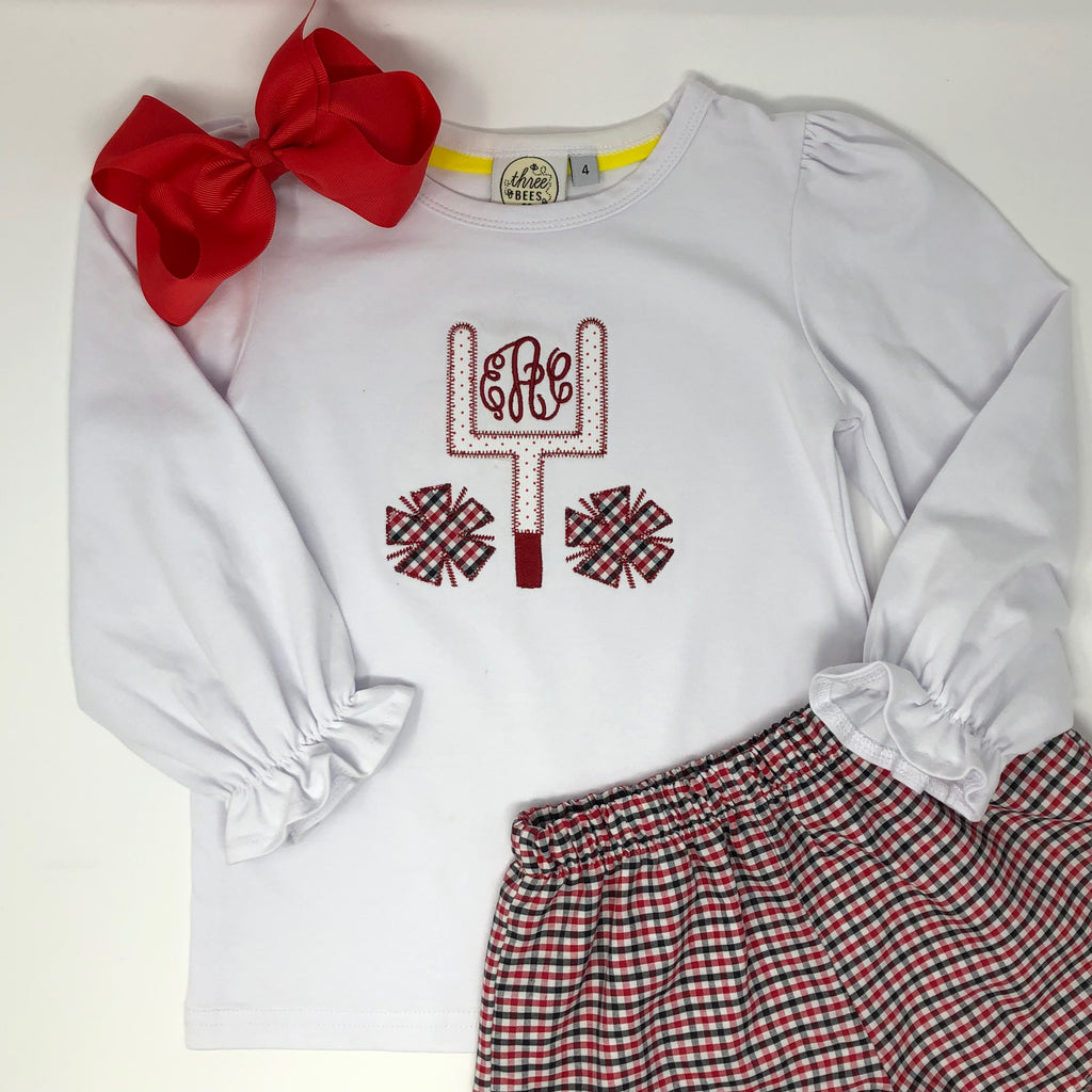 Gameday Applique Girls Top (Multiple Team Colors)