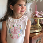 Busy Bee Embroidery Frame on Picot Ruffle Sleeveless Top