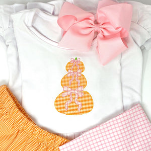 Stacked Pumpkin Girls Applique Top