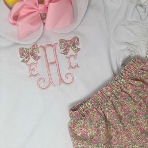 Fishtail Monogram with Bow Applique