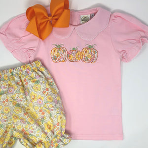 Pumpkin Trio Girls Applique Top