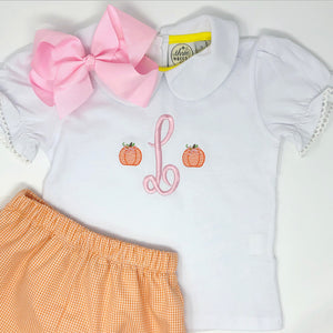 Girls Pumpkin Initial Monogram Top