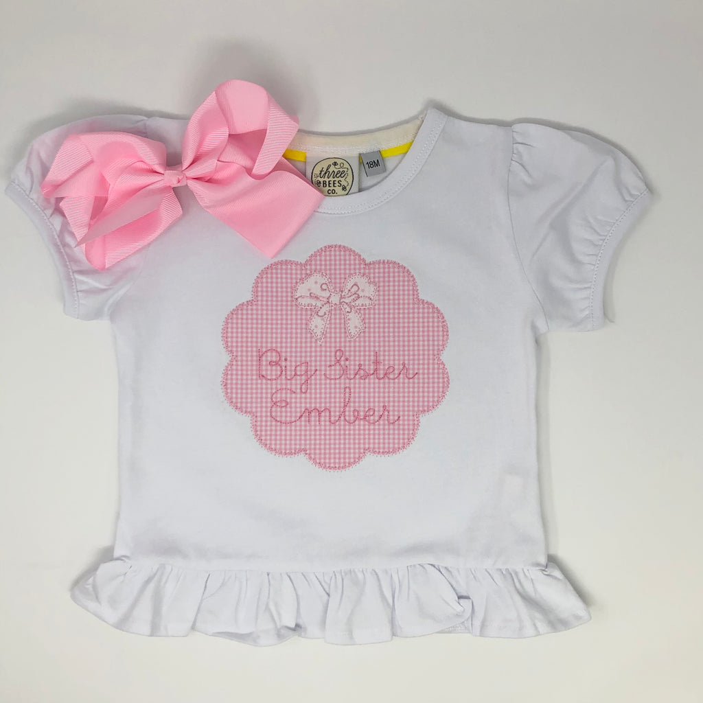 Big Sister Scallop Patch Girls Embroidered Top