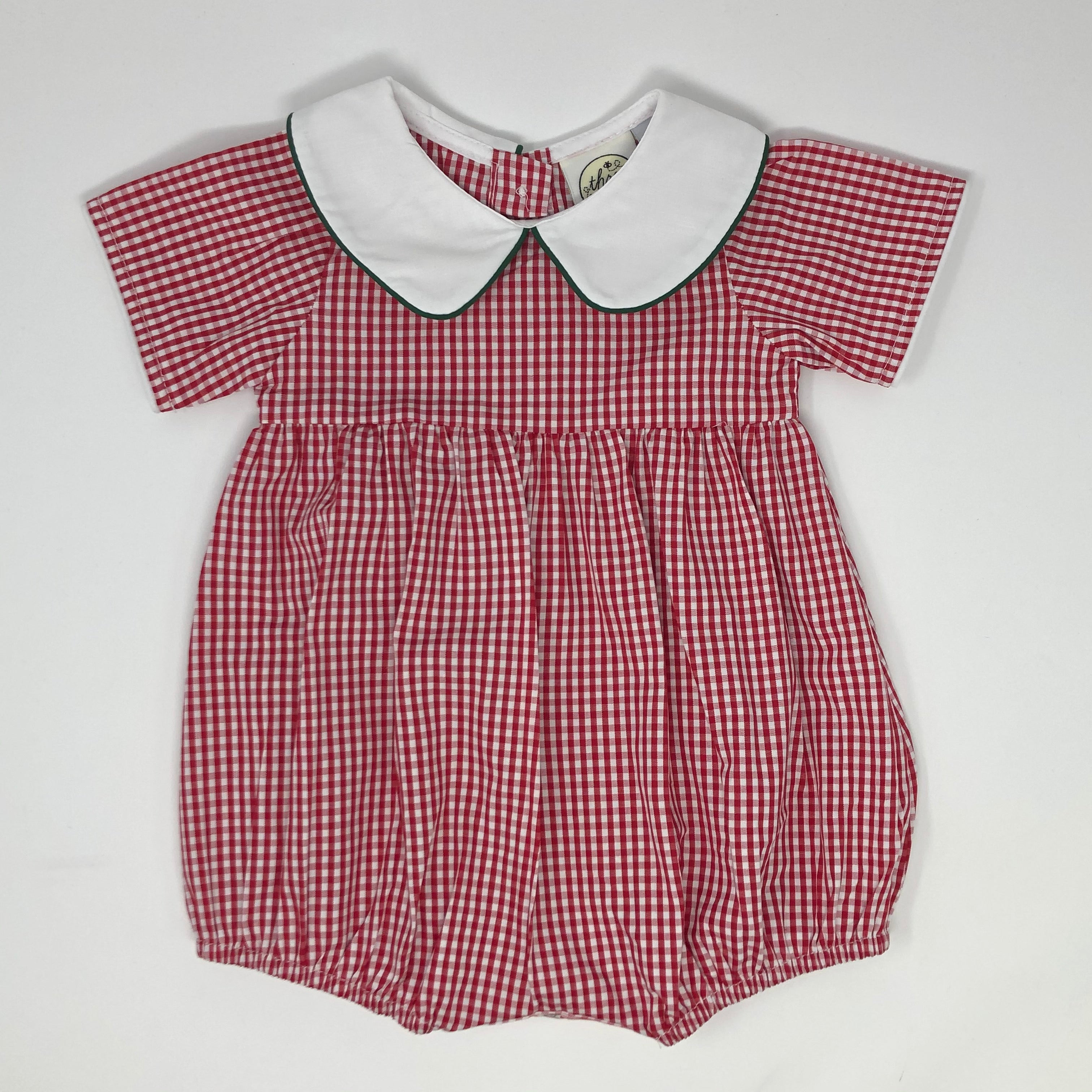 Bee Merry Red Gingham Boys Bubble