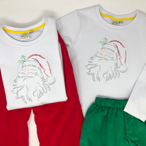 Vintage Stitch Santa Embroidery Boys T-Shirt