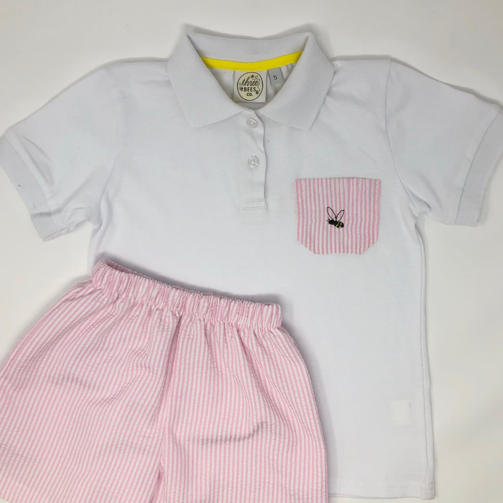 Classic Bee Polo with Seersucker Pocket