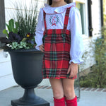 Girls Red Picot Trim Top & Holiday Plaid Jumper Dress
