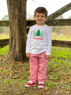 Christmas Tree Applique Boys T-Shirt
