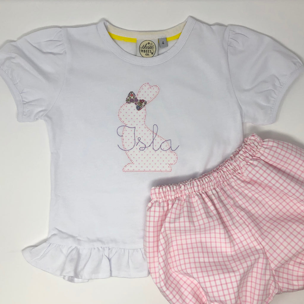 Bunny Silhouette Girls Applique Top
