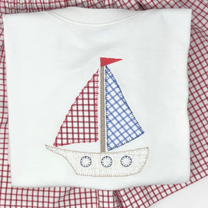 Windowpane Sailboat Applique Boys T-Shirt