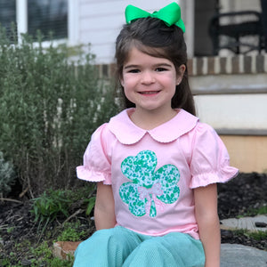 Shamrock Applique Girls Top
